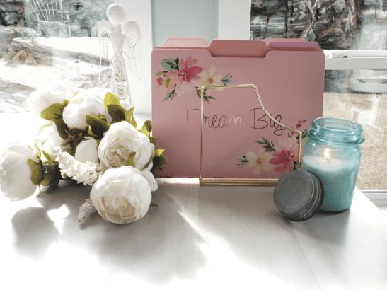 Dream Big file folder with peonies & blue mason jar candle