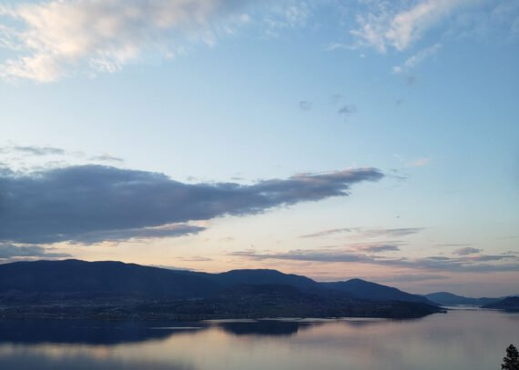 Okanagan Lake at dusk - this the view from our forever home