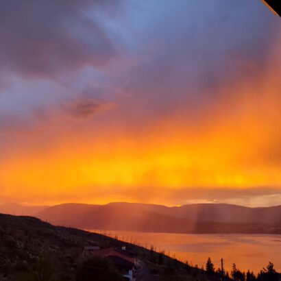 Rain and a sunset mixed to look like fire raining down from heaven