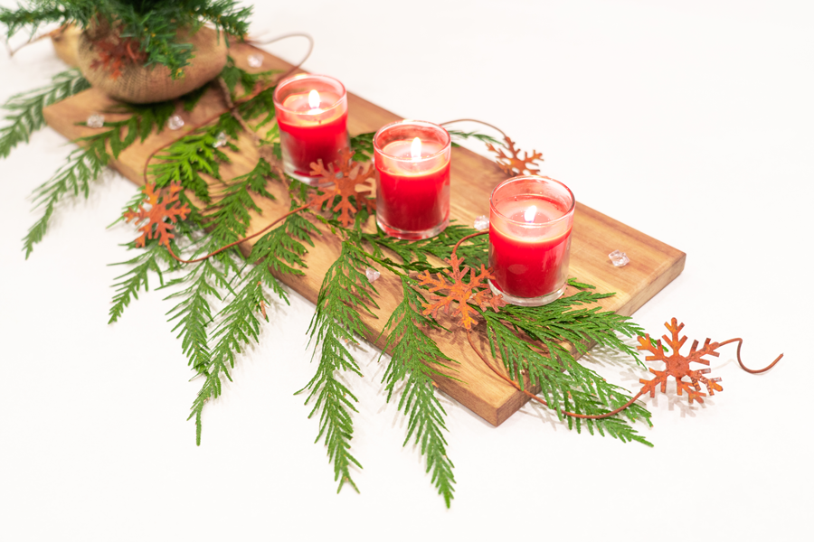 Christmas evergreens and candles