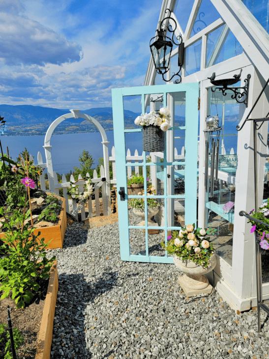 Door basket on greenhouse door