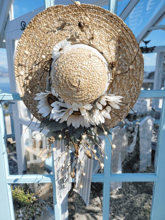 Hat on greenhouse door