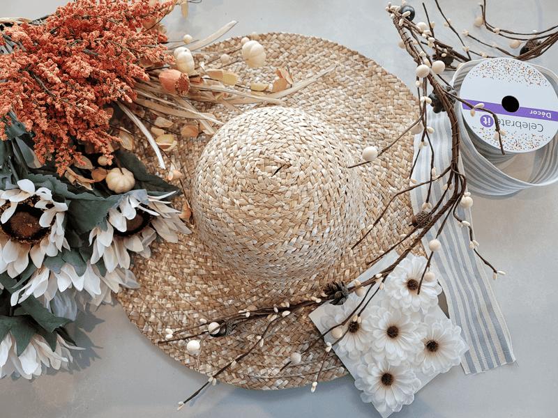 Materials for fall garden hat