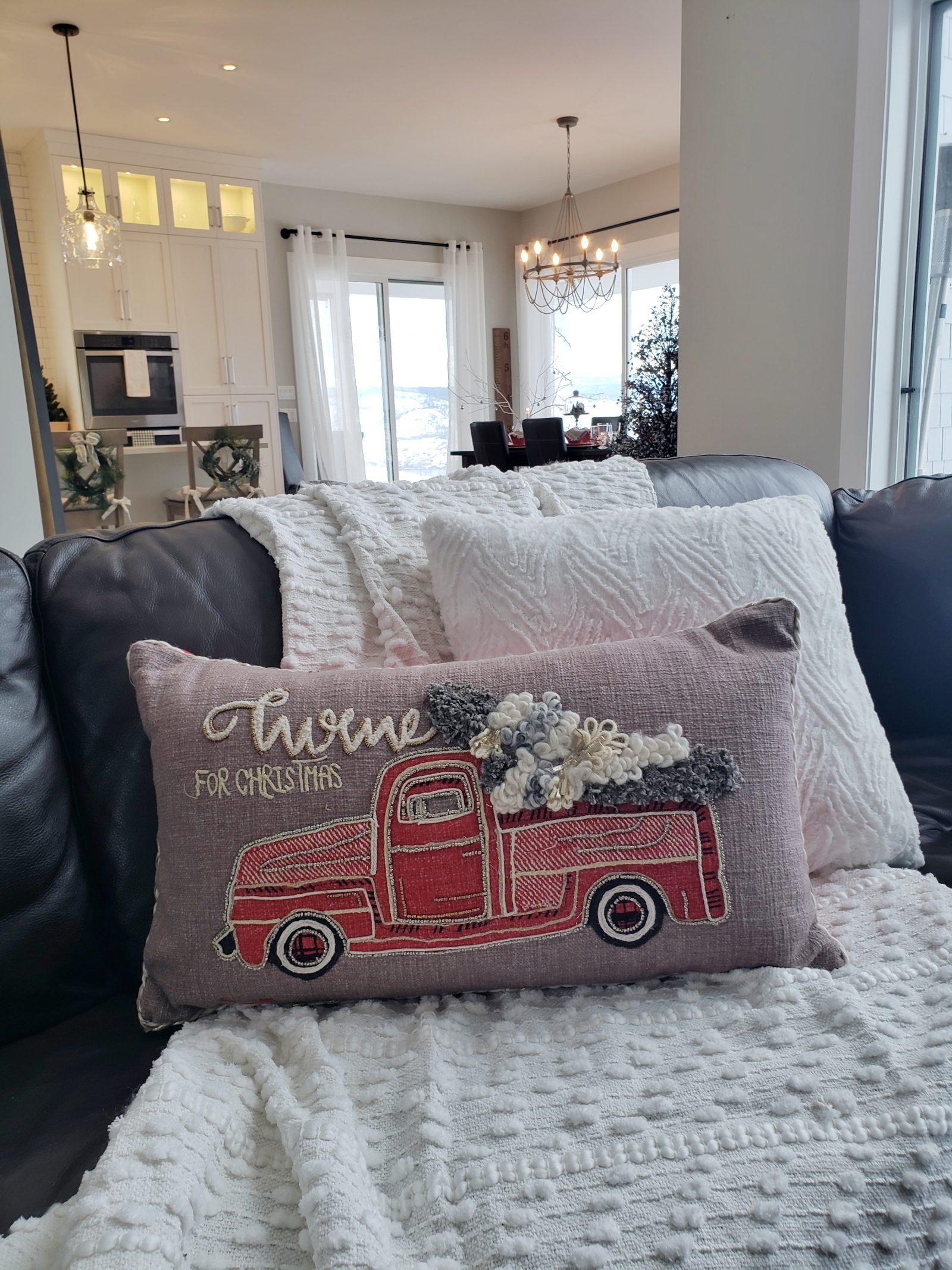 Christmas pillow old truck