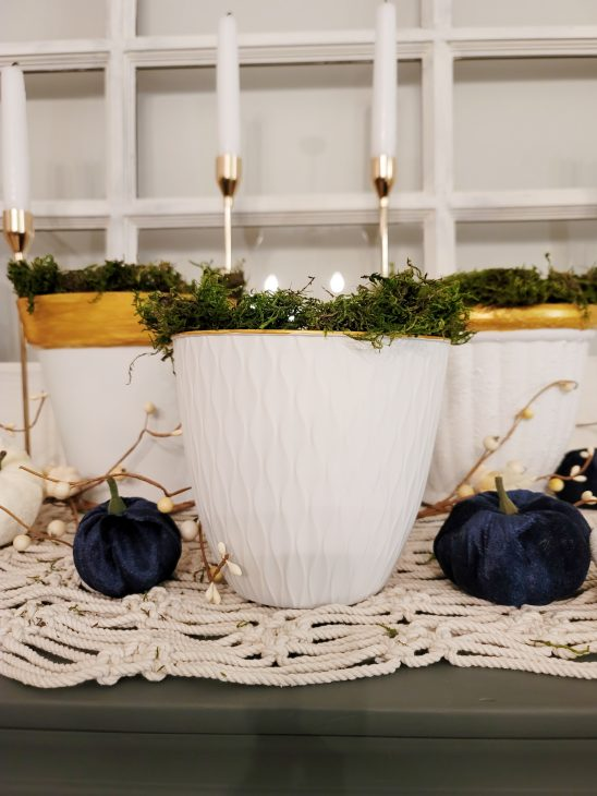 White & Gold pots with moss
