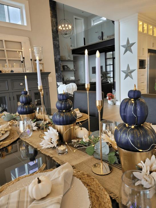 Navy pumpkin topiary trio